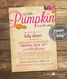 Pumpkin Baby Shower Invitation, Fall, Baby Girl, Autumn, Leaves, Pink, Orange, Brown, Printable (Custom Order, INSTANT DOWNLOAD)