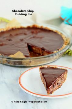 Chocolate Chip Pudding Pie with Chocolate Ganache and Almond Date Crust. Vegan Glutenfree Soyfree Recipe