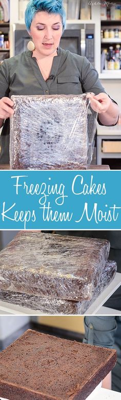 why freezing cakes keeps them moist and easier to work with (Cake Decorating Tips And Tricks) Cake Decorating Techniques, Cake Decorating Tutorials, Cookie Decorating, Decorating Cakes, Decorating Ideas, Cake Icing, Eat Cake, Buttercream Frosting, Fluffy Frosting