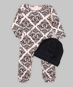 Look at this Tesa Babe Black & Blush Brocade Playsuit & Beanie on #zulily today!