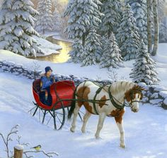 Winter Pony by Ruth Sanderson ~ horse-drawn sleigh Christmas Scenes, Christmas Pictures, Christmas Art, Winter Christmas, Xmas Photos, Winter Snow, Snow Scenes, Winter Scenes, Share Pictures