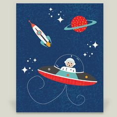 Space Boy in Flying Saucer by ryan deighton designs on BoomBoomPrints!