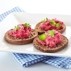 Punajuurihummus   K-ruoka #vegaani Vegan Recipes, Cheesecake, Muffin, Vegetarian, Dishes, Breakfast, Desserts, Malaga, Healthy Food