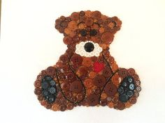 Teddy Bear Nursery Decor Button Teddy Bear by LibertyWayDesigns