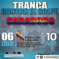 #Repost @notivenezolana  Oposición convoca #TrancaContraElGolpe para mañana 6 de abril #DictaduraEnVzla ETIQUETA A TUS AMIGOS#350 #UC #UCAT #UCV #barbula #URBE #UJAP #GolpeDeEstado  #5abril #eleccionesYa #OEA #venezuela  #TSJ #tachira #AN #asambleanacional #aragua #ccs #CLAP #LuisAlmagro #maracay #carabobo #valencia  #dictadura #naguanagua #nicolasmaduro #PSUV