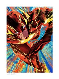 The Flash #750 Fine Art Print by Sideshow   Sideshow Fine Art Prints Dc Comics Collection, Embossed Seal, Central City, Dc Comics Art, Sideshow Collectibles, Dc Universe, Antelope Canyon, Comic Art, Giclee Print