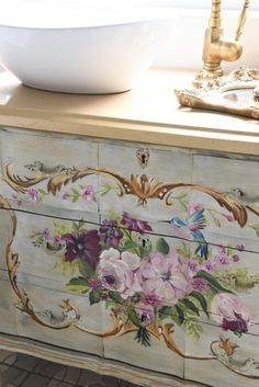 Embracing The Feminine – My girls bathroom reno – Ruffles and Rust Cozy Cottage, Shabby Cottage, Shabby Chic, French Country Style, French Country Decorating, Tole Decorative Paintings, French Bathroom, Green Bedding, Vintage Dressers