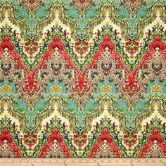 Waverly Palace Sari Jewel from @fabricdotcom  Screen printed on cotton slub duck (slub cloth has a linen appearance), this versatile medium weight fabric is perfect for window accents (draperies, valances, curtains and swags), accent pillows, duvet covers, upholstery and other home decor accents. Create handbags, tote bags, aprons and more. Colors include green, teal green, yellow, ivory, mocha and rosey red. This fabric has 15,000 double rubs.
