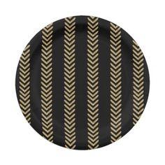 Black Gold Chevron Arrows Paper Plates @zazzle
