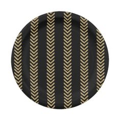 Black Gold Chevron Arrows Paper Plates @zazzle