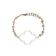 Silver Quatrefoil Cutout on Khaki Beaded Bracelet - Beaucoup Designs Silhouette Collection features time proven shapes combined with beads, pearls, chains and leather. #festivalstyle #ss2016 #beadedjewelry #jewelry