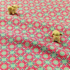 Retro - pink & blue symmetrical floral repeat cotton fabric