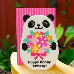 We love our pandas! Fuzzy Panda Birthday Card