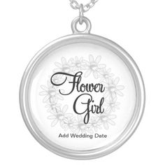 Shop Flower Girl Necklace created by TerryPag. Girls Necklaces, Metal Necklaces, Wedding Necklaces, Black Felt, Bridal Shower Invitations, Party Gifts, Special Gifts, Wedding Gifts, Silver Plate