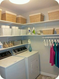 25 Ways to Give Your Small Laundry Room a Vintage Makeover Laundry room decor Small laundry room organization Laundry closet ideas Laundry room storage Stackable washer dryer laundry room Small laundry room makeover A Budget Sink Load Clothes Laundry Room Shelves, Laundry Room Remodel, Small Laundry Rooms, Laundry Room Organization, Laundry Room Design, Laundry In Bathroom, Laundry Closet, Basement Laundry, Laundry Area