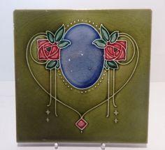 English Art Nouveau Majolica Ceramic Tile Stylised Macinosh Roses c1900 #Architectualtile
