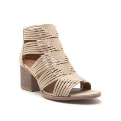 8640b5d698995a Qupid Shoes Core Strappy Peep Toe Heels in Stone CORE-88 STONE Tan Shoes