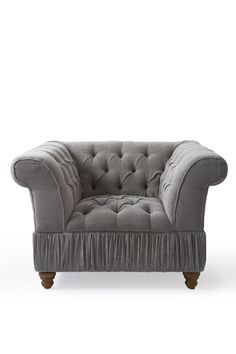 Кресло серое с капитонами Love Seat, Couch, Furniture, Home Decor, Settee, Decoration Home, Sofa, Room Decor, Home Furnishings