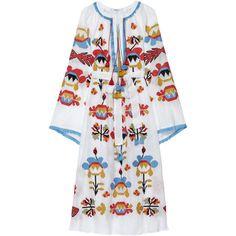 Astrid Embroidered Maxi Dress | Moda Operandi (2,105 CAD) ❤ liked on Polyvore featuring dresses, multi-color dresses, embroidered dress, sleeved dresses, multicolored dress and multi color maxi dress