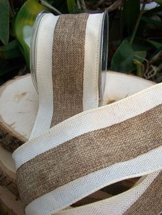 """oh christmas tree oh christmas tree ....Natural &  Ivory  Wired Fine Burlap Ribbon  3"""" width 10 yards $18 each / 3 for $17 each"""