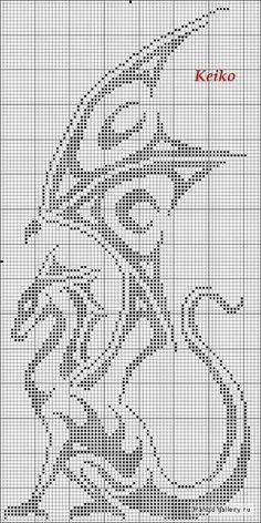 Dragon cross stitch by Mudgey might have to make into a crochet pattern....: