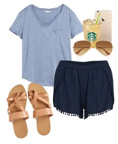 """in Greece with the bae @caittlynnrose"" by sofiaestrada ❤ liked on Polyvore featuring H&M, VILA, KYMA and Ray-Ban"