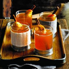 Hot cider toddy  Ingredients  4 cupsapple cider  1/2 cupfresh lemon juice  1/2 cup orange liqueur  1/2 cupbrandy  8cinnamon sticks (optional)  8orange slices (optional