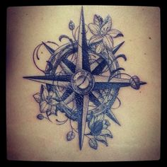 Compass tattoo. With clock...not a fan of the flowers but love everything else. Time & place for everything
