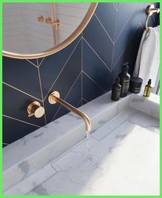 the day Bathroom .- des Tages Badezimmer – home decorasyon bathroom of the day - the day Bathroom .- des Tages Badezimmer – home decorasyon bathroom of the day - The wallpaper, the gold accents, the Blizzard vanity - everything about this space i.