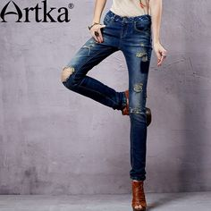 52.80$  Watch more here - http://aicmy.worlditems.win/all/product.php?id=32302784896 - Artka Women's Ethnic Washed Denim Trousers Punk Style Vintage Ripped Design Modern Lady Fashion Comfortable Jeans KN14353C