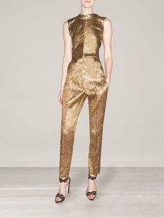 Oscar De La Renta - Textured Metallic Blouse & High Waisted Brocade Trousers