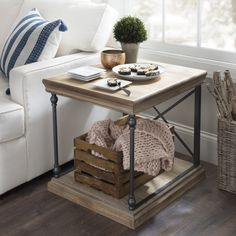 The best way to style our Sonoma side table for the winter season? Tuck a throw underneath. Keeping an extra blanket around ensure cozy vibes for all your visitors.