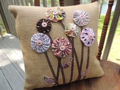 14x14 Brown Burlap Pillow With Pink and Brown Recycled Fabric Flowers