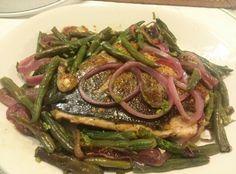 Salmon, green beans, red onions, salt, pepper, rice vinegar,  lemon juice. Done. Delicious.