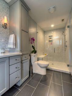 Master Bathroom With Glass Walk In Shower, Large Gray Tiles On Floor, Gray  Cabinets, Mosaic Tile Backsplash Yaminidesigns, Llc