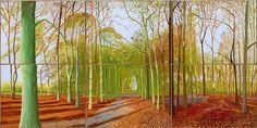 David Hockney: Woldgate Woods, 21, 23 & 29 November 2006, Öl auf 6 Leinwänden. Foto: Museum Ludwig Köln