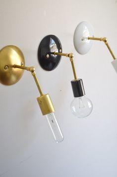 Gold Brass black white Industrial modern wall hanging sconce light. Bathroom, bedroom, bedside lamp hallway lighting.