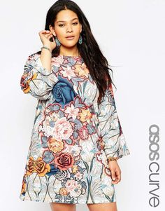 ASOS CURVE Swing Dress with Kimono Sleeve in 70's Floral Print