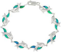 Sterling Silver Dolphin Bracelet Synthetic Opal Inlay 7 1/4 inch long 3/8 inch (10 mm) Wide Sabrina Silver. $118.75