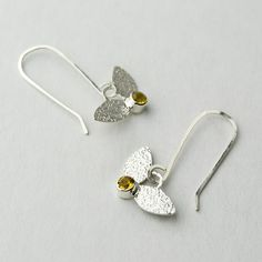 Leaves and citrine buds earrings