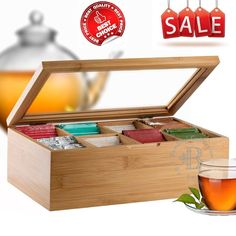 Bamboo Tea Storage Organizer Natural Box Bag Holder 8 Sections Bag Caddy Chest #Bambsi