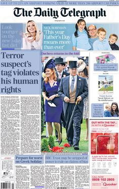 The Daily Telegraph Newspaper Front Page for 20 June 2015 - Sarah & Andrew