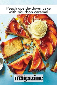 A rich bourbon caramel adds a grown-up twist to this buttermilk sponge. Get the Sainsbury's magazine recipe Fruit Recipes, Baking Recipes, Cake Recipes, Peach Upside Down Cake, Caramel Recipes, Middle Eastern Recipes, Food Trends, Cookies Ingredients, Cake Tins
