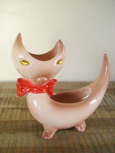Mid Century Modern Pottery Cat Planter by sofralma on Etsy, $24.00