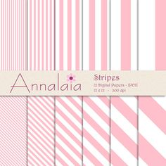 INSTANT DOWNLOAD Digital Paper Pack: Pink White Vertical Diagonal Stripes Lines 12x12 8,5x11 Baby Girl Scrapbook Paper Commercial Use 009