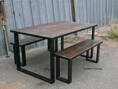 Dining Set made of Steel and Vintage Reclaimed Wood.  by leecowen
