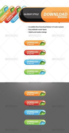 New Glossy Download Button PSD #design Download: http://graphicriver.net/item/new-glossy-download-button/119130?ref=ksioks