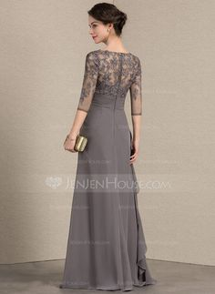 165.36  A-Line Princess V-neck Floor-Length Chiffon Lace Mother of the Bride  Dress With Cascading Ruffles (008143355) fc3b7cb4caf7