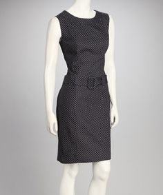 Take a look at this Black & White Polka Dot Belted Sheath Dress by Sharagano on #zulily today!