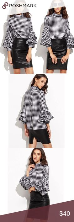 "Just in💛Plaid High Neck Ruffle Sleeve Blouse Beautiful Plaid High Neck ruffle Sleeve Blouse. Polyester and Cotton blend, dress up or down. 3/4"" Sleeve. Comes in Small 36x21x25.2 Medium 38x21x26. Tops Blouses"